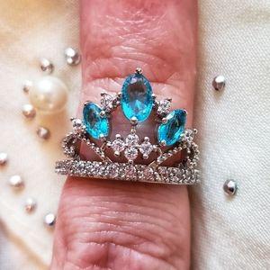 Royal Crown Blue Topaz Gemstone Silver Size 6